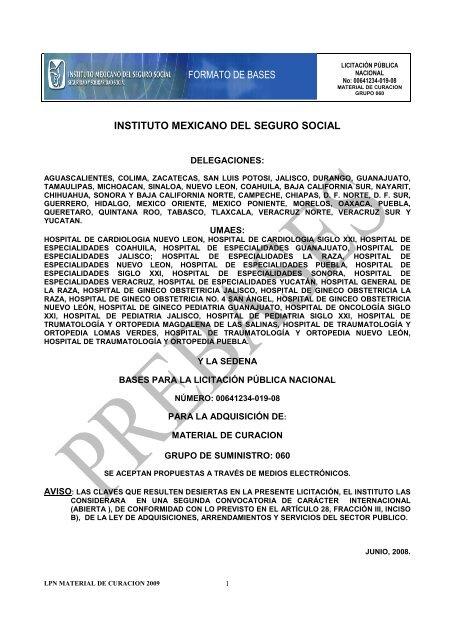 Formato De Bases Instituto Mexicano Del Seguro Social