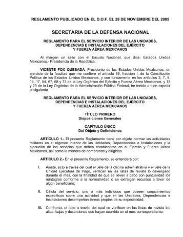 reglamento para el servicio interior de las unidades, dependencias ...