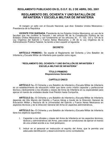 reglamento del ochenta y uno batallón de infantería y escuela militar ...