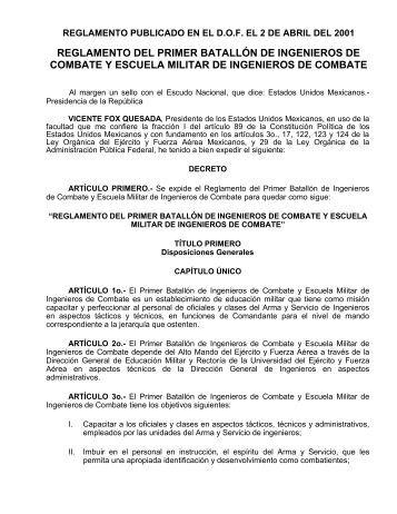 reglamento del primer batallón de ingenieros de combate y escuela ...