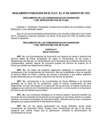 Reglamento de las Comandancias de Guarnición y del Servicio ...