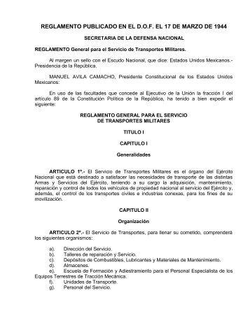 Reglamento General para el Servicio de Transportes Militares