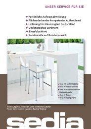 Übersicht Stuhl-Katalog - Sedia Küchentechnik