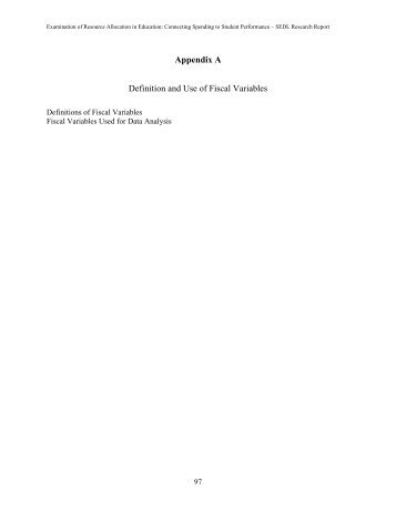 Appendix A Definition And Use Of Fiscal Variables   SEDL