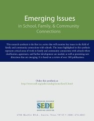 Emerging Issues in School, Family, & Community Connections - SEDL