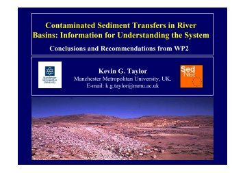 Contaminated Sediment Transfers in River Basins ... - SedNet