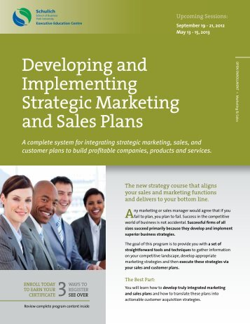 Developing and Implementing Strategic Marketing and Sales Plans