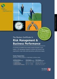 Risk Management & Business Performance - Schulich Executive ...