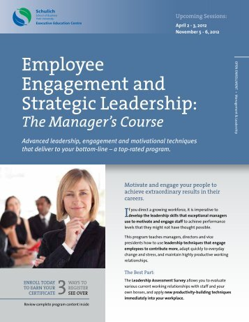 Employee Engagement and Strategic Leadership: - Schulich ...