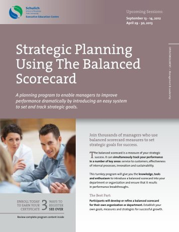 Strategic Planning Using The Balanced Scorecard - Schulich ...