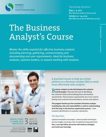 The Business Analyst's Course - Schulich Executive Education ...