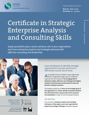 Certificate in Strategic Enterprise Analysis and Consulting Skills