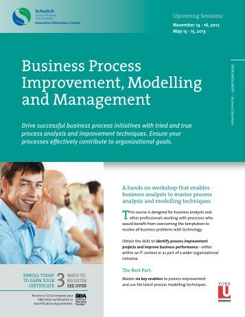 Business Process Improvement, Modelling and Management