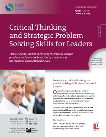 "reasoning skills for leaders Reasoning skills for leaders q: critically discuss why management and leadership development programs place more importance on rational and technical capabilities than emotional ones leadership has been defined as ""the ability to influence a group towards the achievement of a vision or set of goals"", and managers as ""people who achieve."