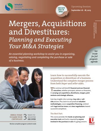 Mergers, Acquisitions and Divestitures: - Schulich Executive ...
