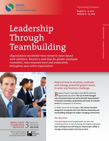 Leadership Through Teambuilding - Schulich Executive Education ...