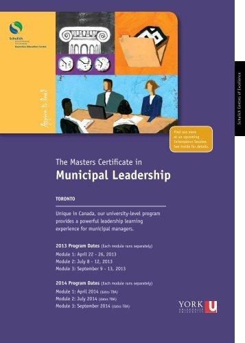 municipal Leadership - Schulich Executive Education Centre - York ...
