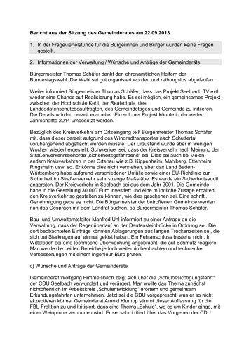 Bericht der Sitzung am 23.09.2013 - seelbach-online