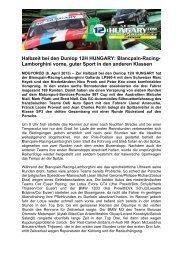 Halbzeit bei den Dunlop 12H HUNGARY: Blancpain-Racing ...