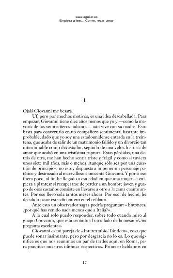 Primeras páginas de 'Comer, rezar, amar' - Prisa Ediciones
