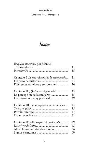 Primeras páginas de 'Menopausia' - Aguilar