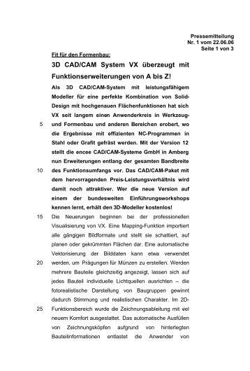 VX überzeugt mit Funktionserweiterungen - encee CAD / CAM ...