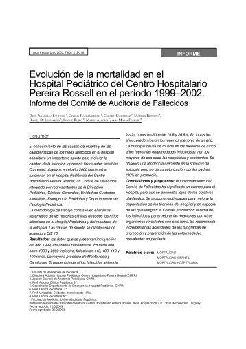 Evolución de la mortalidad en el Hospital Pediátrico del ... - SciELO