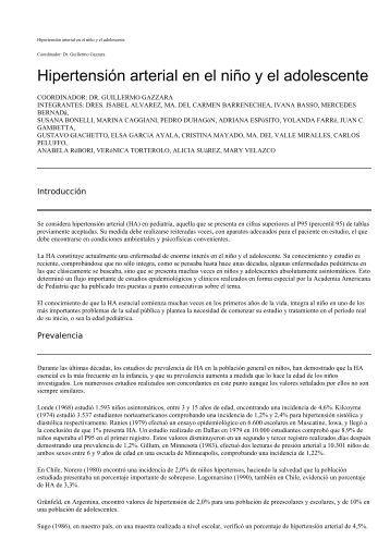 Hipertensión arterial en el niño y el adolescente - SciELO