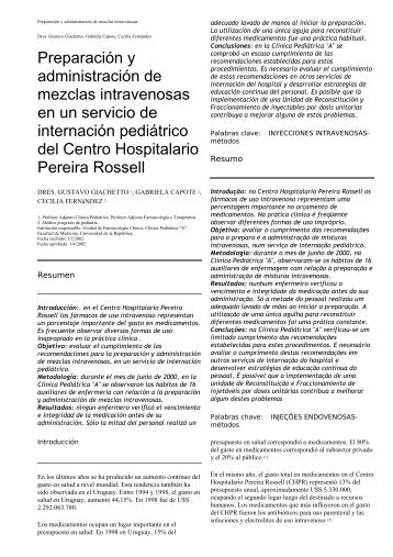 Preparación y administración de mezclas intravenosas en ... - SciELO