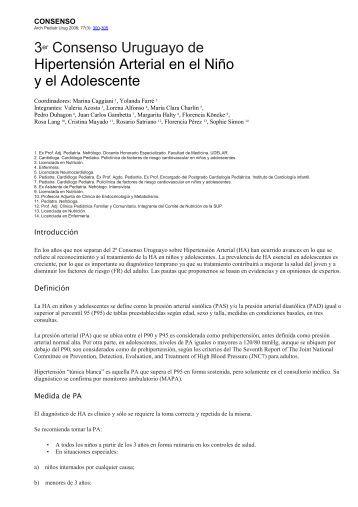 3er Consenso Uruguayo de Hipertensión Arterial en el ... - SciELO