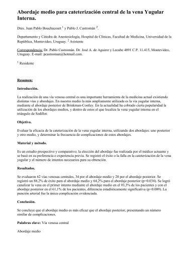 Abordaje medio para cateterización central de la vena ... - SciELO