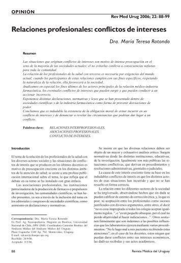 Relaciones profesionales: conflictos de intereses - SciELO