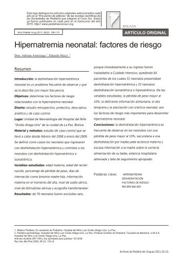 Hipernatremia neonatal: factores de riesgo - SciELO