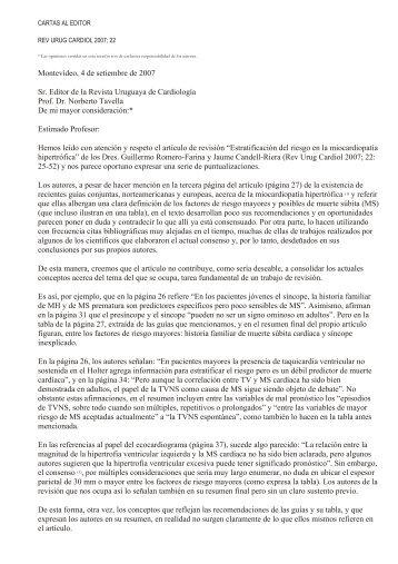 Montevideo, 4 de setiembre de 2007 Sr. Editor de la ... - SciELO