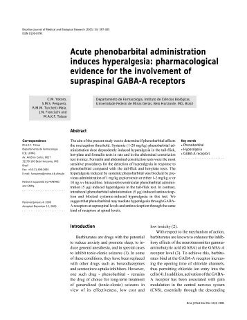 Acute phenobarbital administration induces hyperalgesia ... - SciELO