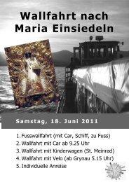 Wallfahrt nach Maria Einsiedeln - Seelsorgeeinheit Obersee