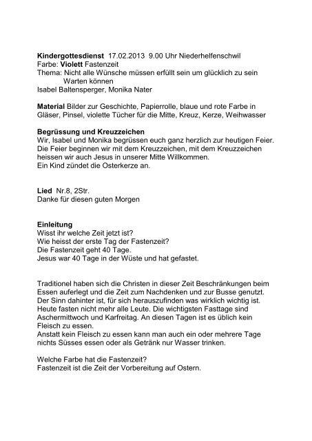 Kindergottesdienst 2013 Violettpdf Seelsorgeverband Nhzlch