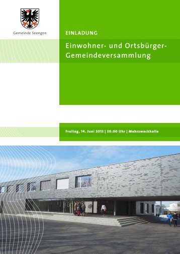 Gemeindeversammlungsvorlage 14.06.2013 [PDF, 3.00 ... - Seengen
