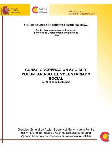 CURSO COOPERACIÓN SOCIAL Y VOLUNTARIADO: EL ...
