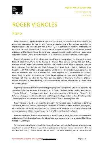 Biografía Roger Vignoles - Centro Nacional  de Difusión Musical