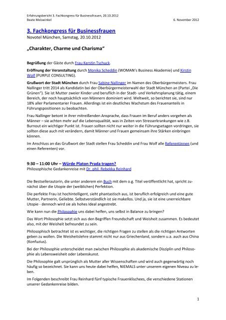 Erfahrungsbericht - Fachkongress für Business Frauen