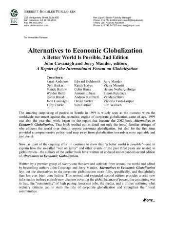 Alternatives to Economic Globalization - International Forum on ...