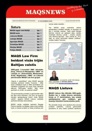Saturs MAQS Law Firm beidzot visās trijās Baltijas valstīs MAQS ...