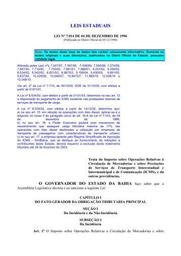 lei_icms_semnotas - Secretaria da Fazenda do Estado da Bahia