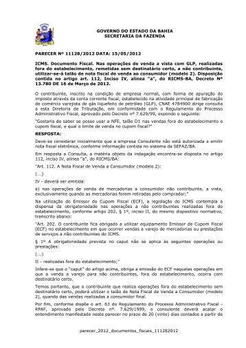 parecer_2012_documentos_fiscais_111282012 ... - Sefaz BA