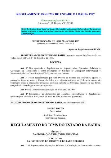 Regulamento do ICMS 1997 - Sem Notas - Sefaz BA