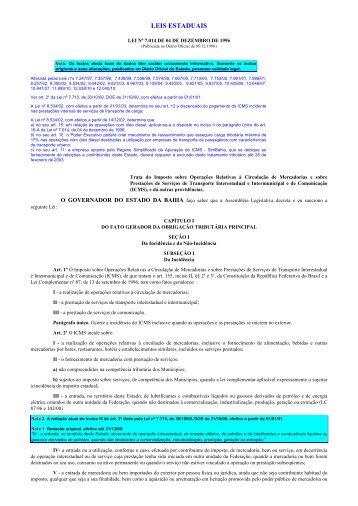 Lei do ICMS - com notas - Secretaria da Fazenda do Estado da Bahia