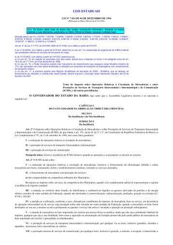 Lei do ICMS - sem notas - Sefaz BA