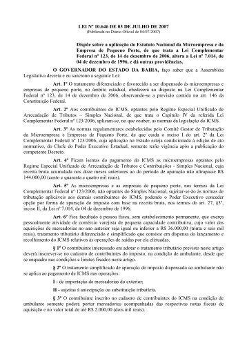 lei_simples_bahia - Secretaria da Fazenda do Estado da Bahia