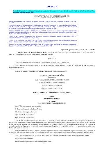 decretos - Secretaria da Fazenda do Estado da Bahia
